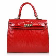 Miss-Lulu-Red-Patent-Leather-Look-Embossed-Crocodile-Grain-Top-Handle-Handbag