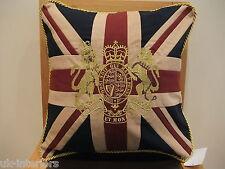 """18 """"de colección Royal Crest Crown & León Union Jack Uk Bandera algodón tejido Cojín"""