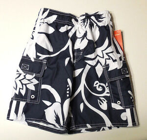Boys Old Navy Blue and White Floral Print Swim Trunk Bottoms Size XS, S, M, L
