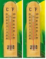 "2BEAUTIFULL WOODEN THERMOMETER12""30cm OUTDOOR INDOOR GREENHOUSES CONSERVATORIES"