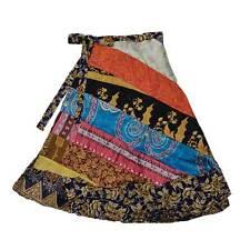 Reversible Below Knee Festival Indian Silk Sari Saree Wrap Skirt Jedzebel, DN204