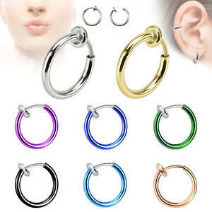 1 - Spring Action Fake Septum Ring in Rhodium Plated Brass Rings Ear Cuff F22