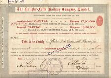 1915-16 India share scrip: The Kalighat-Falta Railway Company Limited small size