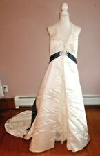 Alfred Angelo Halter Top Wedding Dress - White with Teal Embellishment - Sz 18W