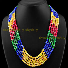 4MM 5 Strand NATURAL Ruby, Emerald & Sapphire Beads Necklace 17-21""