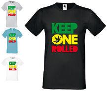 Mens Designer Keep One Rolled Fashion Short Sleeve T Shirt  Crew Neck Ganja
