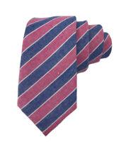 Johnny Madmen Mens Red & Blue Stripe 100% Cotton Hand Made Slim Tie