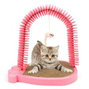 Cat Self Groomer Arch Massaging Comb & Scratching Post Toy with Catnip Pink