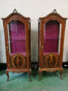 Pair of Tall Large French Hand Painted Display Cabinets