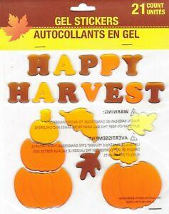 Fall Autumn GEL Sticker Window Clings ~ Happy Harvest Pumpkins