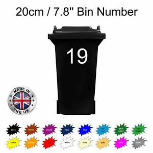 Wheelie Bin Number: Arial 20cm self adhesive trendy for doors shops office cafe