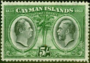 Cayman Islands 1932 5s Black & Green SG94 V.F Very Lightly Mtd Mint