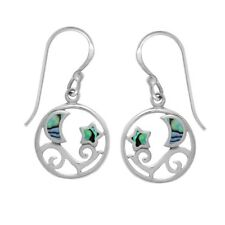 Dangle Earrings for Women Jewelry Gift 925 Sterling Silver Abalone Moon Stars