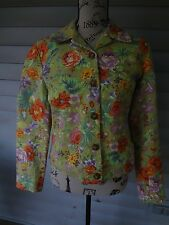 Womens Coldwater Creek Size XS Light Green Multi-Color Floral Jacket