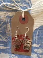 HAND MADE Great British Bake Off Inspired Cook Book Silver Plated Drop Earrings