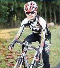 Damen Mode Atmungsaktiv Thermo Radfahren Jersey Fahrradtrikot & Radhose Langarm