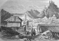 VOYAGE DAN LA MER ROUGE - La ville d´Aden - original Holzstich von 1854 -