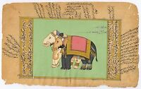 Elephants Painted India Miniature Watercolor Paper Art Home Decor Painting Hippy