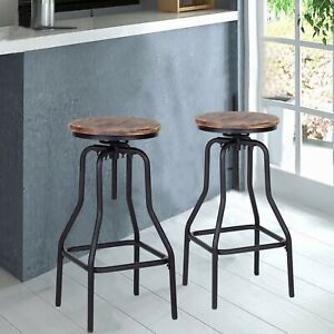 2pcs Industrial Style Bar Stool Kitchen Dining Chair Pinewood Top Metal Backret