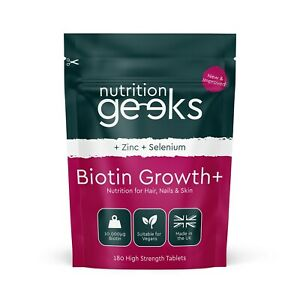 Biotin Hair Growth Supplement | 180 Tablets - 10,000mcg | + Zinc + Selenium, UK