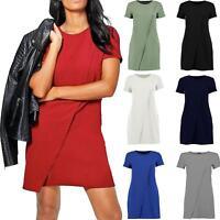 Womens Ladies Cap Sleeve Wrap Over Shift Dress Top Crew Neck Midi Mini Plain