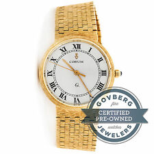 Corum Vintage Quartz 33mm Yellow Gold White Dial Mesh Bracelet Watch