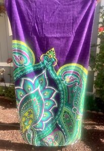 "Mainstays Purple Teal Turquoise Paisley Beach Towel Premium Velour NEW 34"" X 64"""