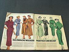 Modezeitschrift GEJO MODENBLATT 1950 - 2 Schnittmuster-Bg 50er Jahre WINTER rar