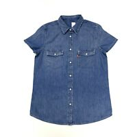 Levi's Women's Western Denim Short Sleeve Shirt In Blue Size S