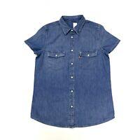 Levi's Women's Western Denim Short Sleeve Shirt In Blue Size S
