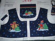 Vtg Christmas Teddy Bears Girls Jumper Bodice Pockets Fabric Panel Sz 2-8 #wd9