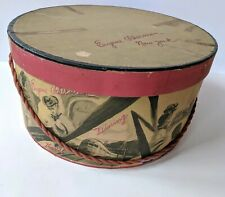 "Vintage Eugene Scherman Millinery Hat Box 12.75"" diameter With Beautiful Graphic"