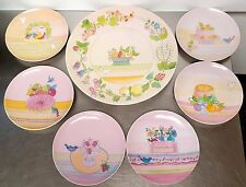 """7 pcs Collection Coeur DESSERTS By ANNIE 7 1/2"""" PORCELAIN PLATES Chazottes 1984"""