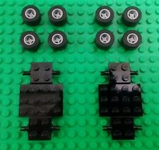 *NEW* Lego Black Cars Chassis Racing Wheels Grey Rims Black Tyres - 2 Cars