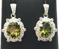 Sterling Silver 925 Oval Green Peridot CZ Cluster Drop Dangle Post Earrings