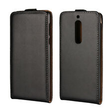 Black Genuine Leather Classic Flip Case Cover Skin for Nokia 5 Nokia 8