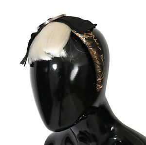NEW $1900 DOLCE & GABBANA Diadem Headband Black Crystal White Hair Parrucchiera