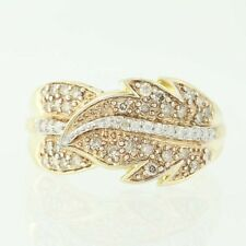 NEW Diamond Feather Bypass Ring - 14k Yellow Gold Round Cut .50ctw