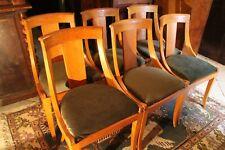 Suite de 6 chaises gondole en acajou blond assise velours bronze de style Empire