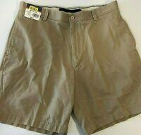 Roundtree & Yorke Khaki Size 36  Flat Front Chino Men's Shorts NWT $38