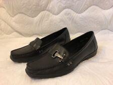 BASS BENZ Women's Black Horsebit Leather Slip On Flat Loafers Size 9