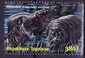 Togo 2001 MNH, Hippo, Wild Animals -