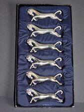 6 PORTE COUTEAUX ANIMALIERS FORME CHEVAUX METAL ARGENTE DECO TABLE VINTAGE