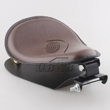 "Retro Brown Leather SOLO Seat Pan Cover Frame 2"" Gold Spring For Harley Custom"