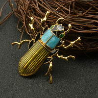 Nice Genuine Brooch Green Scarab Beetle Insect Brass Pin Wood Boring Bug Jewelry