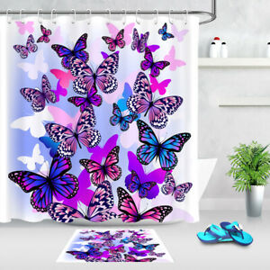 Purple Dream Butterfly Shower Curtain Set Bathroom Decor Waterproof Fabric Hooks