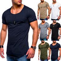 UK Men's Short Sleeve T-shirt Summer Muscle Cotton Casual Tee Tops Sports Shirts