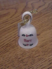 """New Ceramic Christmas bell ornament with name Marc 1 3/4"""""""