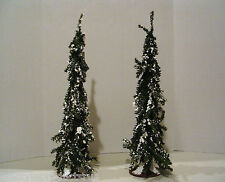"""2 New 24"""" Artificial Faux Snowy Pine Trees Snow Tree Trains Miniature Village"""