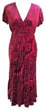 Phase Eight Vintage 90s Red Wine Floral Crushed Velvet Silk Blend Dress 10 12